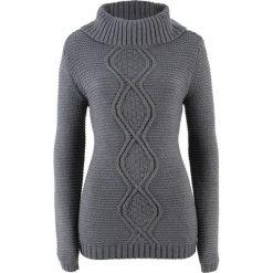 Swetry klasyczne damskie: Sweter z warkoczem bonprix szary melanż