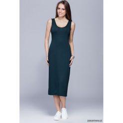 Długie sukienki: Długa dopasowana sukienka- zielona H026