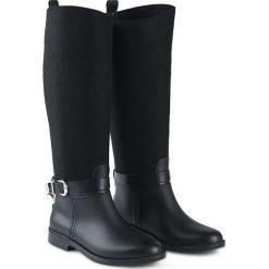 d7c422e79ead3 Kalosze Trussardi Jeans. Czarne kalosze damskie Trussardi Jeans, bez  wzorów, z jeansu,