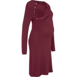 Sukienka dzianinowa ciążowa i do karmienia bonprix czerwony klonowy. Niebieskie sukienki ciążowe marki bonprix, z materiału, z dekoltem w serek. Za 74,99 zł.