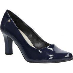Granatowe czółenka lakierowane na słupku Casu 3043. Czerwone buty ślubne damskie marki Casu, na słupku. Za 78,99 zł.