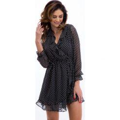 Sukienki hiszpanki: Czarna szyfonowa sukienka w białe grochy 21331