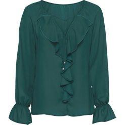 Bluzka z falbaną bonprix głęboki zielony. Zielone bluzki z odkrytymi ramionami bonprix. Za 74,99 zł.