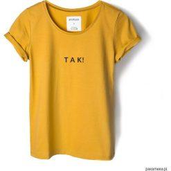 T-shirt musztardowy TAK!. Czarne t-shirty damskie marki KIPSTA, m, z elastanu, z długim rękawem, na fitness i siłownię. Za 79,00 zł.