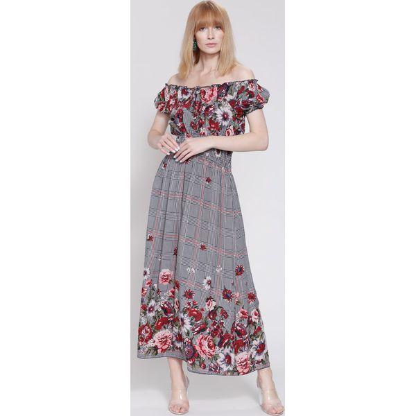 72e016c25c Granatowo-Czerwona Sukienka Boho Flower - Czerwone sukienki damskie ...