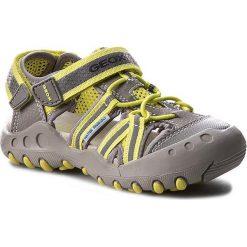 Sandały GEOX - J Sand.Kyle C J42E1C 014CE C0666 Szary/J.Zielony. Szare sandały męskie skórzane marki Geox. W wyprzedaży za 199,00 zł.
