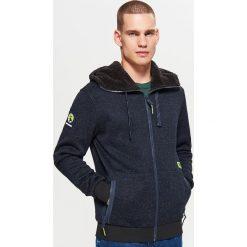 Zapinany sweter z kapturem - Granatowy. Niebieskie swetry rozpinane męskie marki Armor lux, m. Za 129,99 zł.