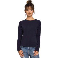Granatowa Klasyczna Bluzka z Długim Rękawem. Niebieskie bluzki asymetryczne Molly.pl, l, z dzianiny, eleganckie, z dekoltem w łódkę, z długim rękawem. Za 88,90 zł.