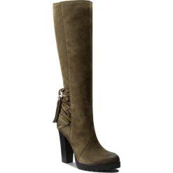 Kozaki EVA MINGE - Ercilia 2O 17SM1372223EF 462. Zielone buty zimowe damskie Eva Minge, z nubiku, przed kolano, na wysokim obcasie, na obcasie. W wyprzedaży za 349,00 zł.