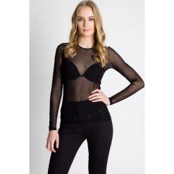 Bluzki asymetryczne: Dopasowana czarna bluzka z siatki  BIALCON
