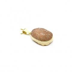 Naszyjnik Agat Druza Cappuccino złoto. Brązowe naszyjniki damskie Brazi druse jewelry, pozłacane. Za 170,00 zł.