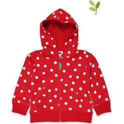 Bluza w kolorze czerwono-białym. Czerwone bluzy chłopięce rozpinane Toby Tiger, w kropki, z bawełny, z kapturem. W wyprzedaży za 129,95 zł.