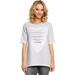 ELISA Dresowa bluza tunika z sercem  - szara. Szare tuniki damskie Moe, s, z dresówki. Za 89,00 zł.