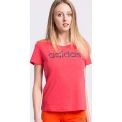 Adidas Performance - Top. Różowe topy sportowe damskie adidas Performance, s, z nadrukiem, z bawełny, z okrągłym kołnierzem. W wyprzedaży za 79,90 zł.