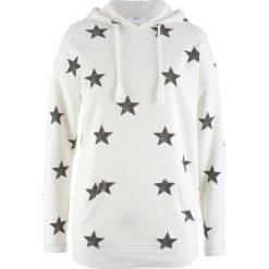 Bluza z kapturem i nadrukiem w gwiazdy bonprix biel wełny z nadrukiem. Białe bluzy rozpinane damskie bonprix, z nadrukiem, z wełny, z kapturem. Za 74,99 zł.