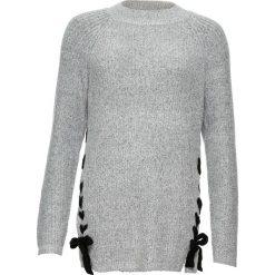 Sweter dzianinowy ze sznurowaną wstawką bonprix jasnoszary melanż - czarny. Szare swetry klasyczne damskie marki bonprix, melanż, z dzianiny. Za 99,99 zł.