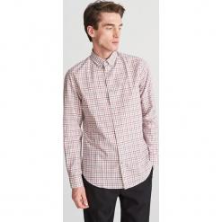 Koszula w kratę slim fit - Brązowy. Brązowe koszule męskie slim marki Reserved, m, z bawełny. Za 119,99 zł.