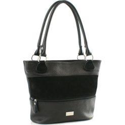 Torebki klasyczne damskie: Skórzana torebka w kolorze czarnym – (S)38 x (W)25 x (G)16 cm
