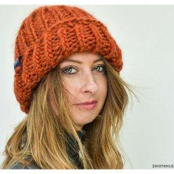 Czapki zimowe damskie: Ruda czapka z wełny i alpaki na drutach