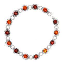 Biżuteria i zegarki damskie: RABAT Bransoletka Srebrna - srebro 925, Bursztyn