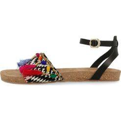"""Rzymianki damskie: Skórzane sandały """"Mayua"""" w kolorze czarnym"""