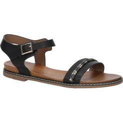 Czarne sandały letnie z ozdobnym plecionym paskiem Casu K18X10/B. Czarne sandały damskie Casu. Za 39,99 zł.