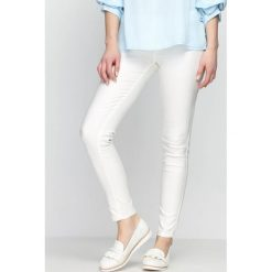 Spodnie damskie: Białe Jegginsy White Marble