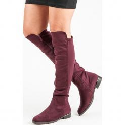 BORDOWE KOZAKI NA PŁASKIM OBCASIE. Czerwone buty zimowe damskie SUPER ME, na płaskiej podeszwie. Za 100,00 zł.
