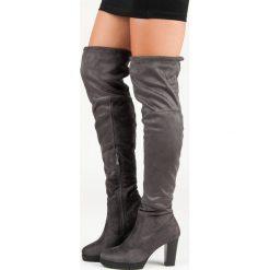 Buty zimowe damskie: Szare muszkieterki na słupku KAYLA