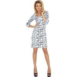 Biała Sukienka Ołówkowa z Dekoltem w Czarny Wzór. Czarne sukienki balowe marki bonprix, do pracy, w paski, moda ciążowa. W wyprzedaży za 104,93 zł.