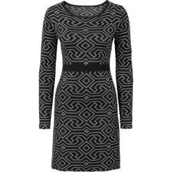 Sukienka dzianinowa bonprix czarno-szary melanż wzorzysty. Czarne sukienki dzianinowe bonprix, melanż. Za 119,99 zł.
