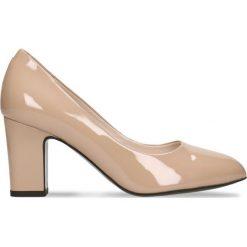 Czółenka LENA. Brązowe buty ślubne damskie Gino Rossi, z lakierowanej skóry, na wysokim obcasie, na słupku. Za 179,90 zł.