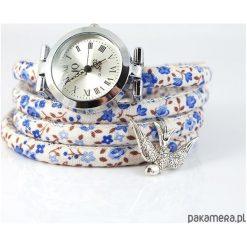 Zegarki damskie: Zegarek, bransoletka - Jaskółka - kwiaty