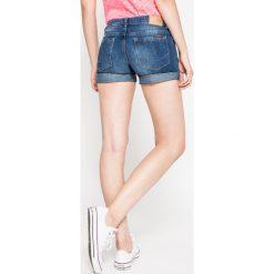 Superdry - Szorty. Szare szorty damskie z printem Superdry, z bawełny, casualowe. W wyprzedaży za 99,90 zł.