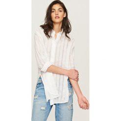 Koszule damskie: Koszula w ażurowe paski – Biały
