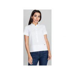 Bluzka M548 Biały. Szare bluzki damskie marki FIGL, m, z bawełny, eleganckie, z asymetrycznym kołnierzem, z długim rękawem. Za 119,00 zł.