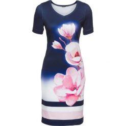 Sukienki: Sukienka bonprix granatowo-jasnoróżowo-biały w kwiaty