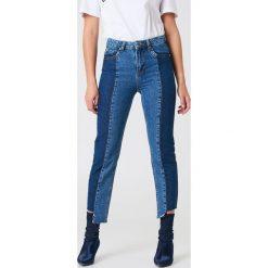 Spodnie damskie: Trendyol Jeansy mom z panelami - Blue