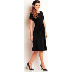 Sukienki hiszpanki: Czarna Lekka Sukienka Midi z Marszczonym Dołem