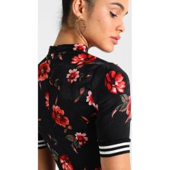Sukienki: Missguided FLORAL HIGH NECK MINI DRESS WITH SLEEVE STRIPES Sukienka letnia black