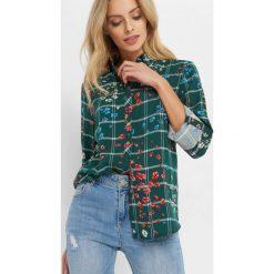 Koszula w kratę ze wzorem. Zielone koszule wiązane damskie Orsay, z tkaniny. Za 89,99 zł.
