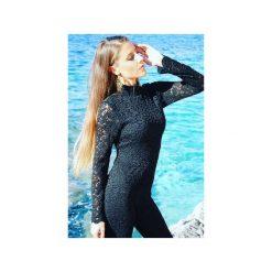 Kombinezony eleganckie: Elegancki czarny koronkowy kombinezon