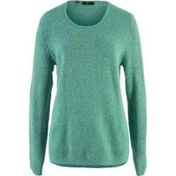Sweter z puszystej przędzy bonprix zielony szałwiowy - czarny. Zielone swetry klasyczne damskie bonprix. Za 54,99 zł.
