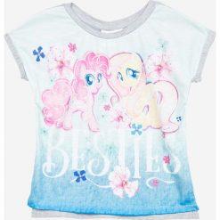 Blukids - Top dziecięcy Pony the Movie 98-128 cm. Szare bluzki dziewczęce bawełniane Blukids, z nadrukiem, z okrągłym kołnierzem, z krótkim rękawem. W wyprzedaży za 34,90 zł.