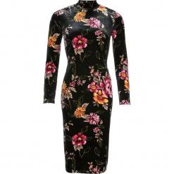 Sukienka bonprix czarny z kolorowym nadrukiem. Czarne sukienki dzianinowe bonprix, w kolorowe wzory, dopasowane. Za 109,99 zł.