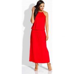 Długie sukienki: Długa elegancka sukienka z oryginalnym dekoltem czerwony
