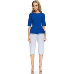 VOLETA Bluzka z falbanką - chabrowa. Niebieskie bluzki asymetryczne Stylove, z jeansu, wizytowe, z falbankami. Za 89,00 zł.