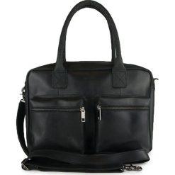 Torebki klasyczne damskie: Skórzana torebka w kolorze czarnym – 37 x 26 x 13 cm
