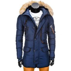 KURTKA MĘSKA ZIMOWA PARKA C305 - GRANATOWA. Niebieskie kurtki męskie zimowe Ombre Clothing, m, z futra. Za 129,00 zł.