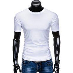 T-shirty męskie: T-SHIRT MĘSKI BEZ NADRUKU S883 – BIAŁY